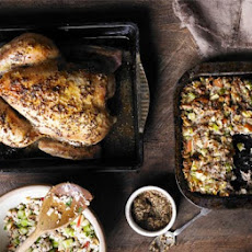 Mustard-glazed roast chicken with Waldorf stuffing