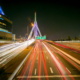 Leonard P. Zakim Bunker Hill Bridge by Cary Chu - City,  Street & Park  Night