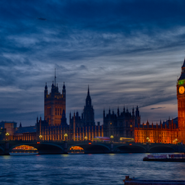London BLue Skyline by Adriaan Oosthuizen - City,  Street & Park  Skylines ( skyline, thames, london, rampix photography, big ben, houses of parliament )