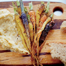 Vedge's Spiced Little Carrots with Chickpea-Sauerkraut Puree