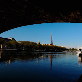 Eiffel Tower by Margaux Prevots - City,  Street & Park  Vistas ( seine, eiffel tower, paris, blue sky, landscape )