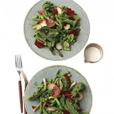 Asparagus, Spinach, and Crisped-Prosciutto Salad