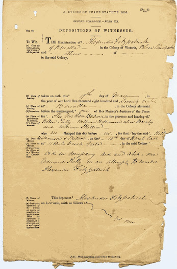 Deposition of Constable Fitzpatrick following the affairs at the Kelly house on 15 April 1878