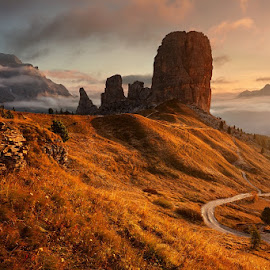 Golden tower by Daniel Řeřicha - Landscapes Mountains & Hills ( passo falzarego, autumn, dolomites, morning, cinque torri )