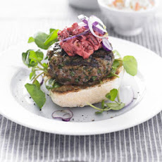 Herby Lamb Burgers With Beetroot Mayo