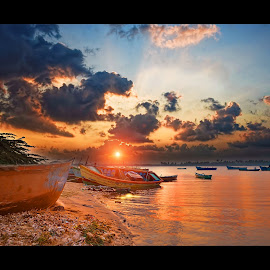 beginning of the Day by Irfan Tayab - Landscapes Sunsets & Sunrises ( river shore, beginning, portonovo, sunrise )