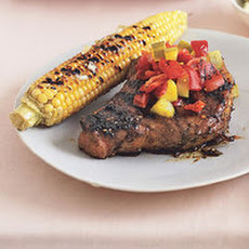 Cubano Pork Chops with Pickle-and-Pepper Relish and Char-Grilled Corn