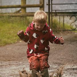 Splash! by Dominic Lemoine Photography - Babies & Children Children Candids ( water, mud, splash, summer, boy,  )