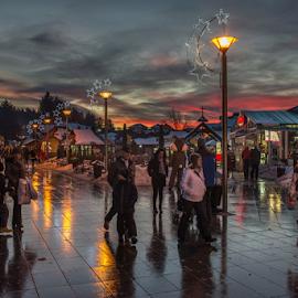 Zlatibor by Branislav Rupar - City,  Street & Park  Street Scenes ( jacket, reflection, d600, bulbs, people, hat, city, lamps, mountains, winter, sigma 24-70, snow, night, town, nikon, šetrnja, pavement, colorful, mood factory, vibrant, happiness, January, moods, emotions, inspiration )