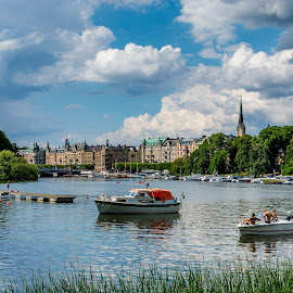 Stockholm canal by Stefan Sarbu - City,  Street & Park  Vistas ( stockholm, boats, seascape, people, canal, historic )