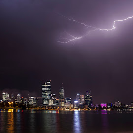 Storm perth by Ron Harper - City,  Street & Park  Skylines ( lightning, hp, perth, storms, wa, rain, harper, western australia, city )