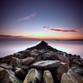 Reach the horizon. by Piotr Dominiak - Landscapes Sunsets & Sunrises ( ireland, dublin port, sunrise, north wall, piotr dominiak, bull island )