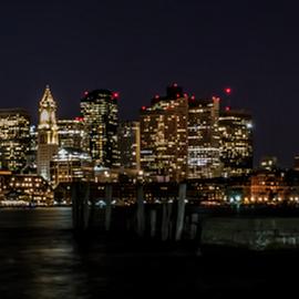 Boston Ma by Michael Phillips - City,  Street & Park  Skylines ( harbor, night photography, nikon d3100, long exposure, boston skyline )