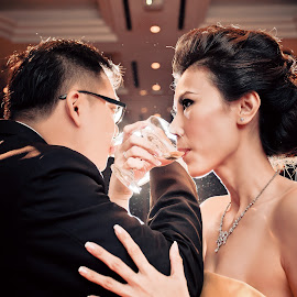 Precious Moment  by Xiiao Hua - Wedding Bride & Groom ( reception, red wine )