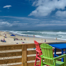 OBX by Jean Claude Hebert - Landscapes Beaches ( plage, obx, outer banks, mer, pier, eau, nags head nc, nags head fishing pier )