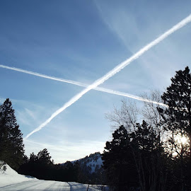 X marks the spot! by Vicki Strickland - Novices Only Landscapes ( black hills, winter scene, blue sky, deadwood sd, airplane tailings )