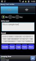 Screenshot of Binary Text co/dec Mobile