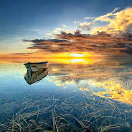 Silent Morning by Agus Eka Kurniawan - Landscapes Sunsets & Sunrises ( bali, reflection, nature, color, cloud, sea, beach, sunrise, landscape, boat, sun )