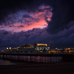 Brighton Pier, England by Peter Greenhalgh - Landscapes Sunsets & Sunrises ( clouds, stormy, water, lights, brighton, sunset, pier, night )