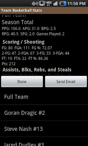 Team Basketball Stats - screenshot