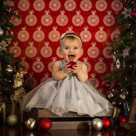 Christmas Baby Girl by Dale-Marie Van Ess-Boersema - Babies & Children Child Portraits ( christmas, baby girl )