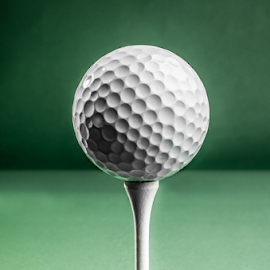 Golf Ball on Tee by Jacques Jacobsz - Sports & Fitness Golf ( golf tee, ball, green, positioned, white, tee, green background, tee off, upright, balanced, golf ball, on top, golf, tee shot, line of play, placed )