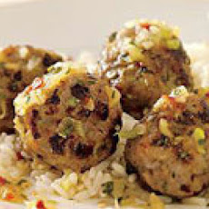 Grilled Pork Meatballs with Pineapple-Chipotle Chutney