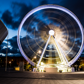 Liverpool Eye by Adriaan Oosthuizen - City,  Street & Park  Skylines ( skyline, rampix photography, liverpool, cityscape, slow shutter, ferris wheel )