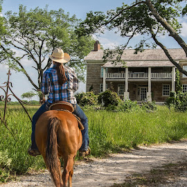 Home on the range by Esther Lane - Buildings & Architecture Homes ( rider, building, horse, cowgirl, stone, kansas, gate,  )