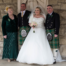 The new In laws by Ray Rosher - Wedding Bride & Groom ( kilts, mother inlaw, wedding photography, inlaws, father inlaw, bride and groom )