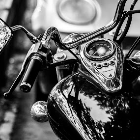 Kawasaki by Cosmin Lita - Black & White Objects & Still Life ( speed, black and white, motorcycle, classic, street photography,  )