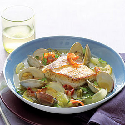 Halibut, Clams, and Pancetta with Escarole