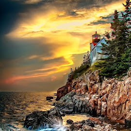 Sunset @ Bass Harbor Lighthouse, Maine by Lawayne Kimbro - Landscapes Sunsets & Sunrises (  )