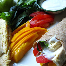 Wholewheat Chicken Mango Wrap With Lime Yogurt Sauce.