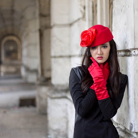 See you ... by Frans Tumiwa - People Fashion ( girl, red, waiting, lady, black )