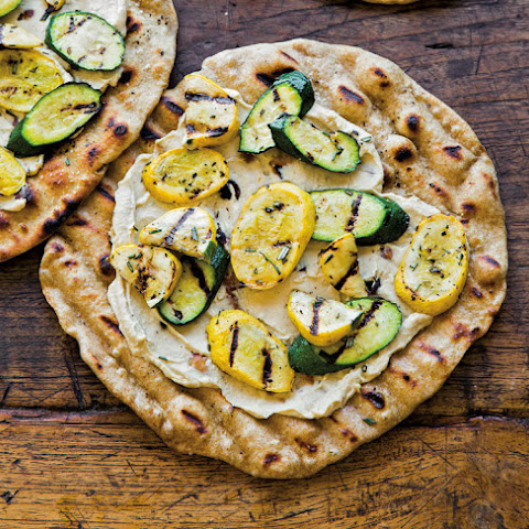Grilled Pizza with Hummus and Rosemary Summer Squash