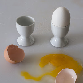 Cracked Egg by Daniel Gorman - Food & Drink Ingredients ( dinner, bird, chicken, eggs, breakfast, ingredient, eat, chickens, lunch, egg, birds )