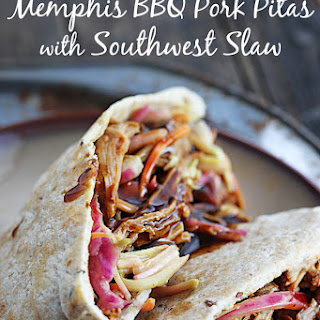 {Slow Cooker} Memphis Pork Pitas with Southwest Slaw
