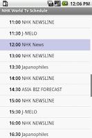 Screenshot of NHK World Tv Schedule