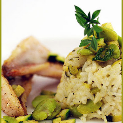 Fava Bean Risotto Timbale