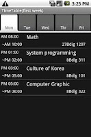 Screenshot of TimeTable(for Student)