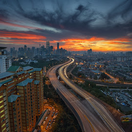 Magical sunset by Umar Affan - City,  Street & Park  Skylines ( landmark, building, sky, highway, sunset, apartment, malaysia, road, cityscape, kuala lumpur )