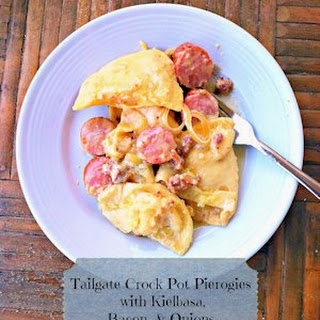 Tailgate Crock Pot Pierogies with Keilbasa, Bacon, and Onions