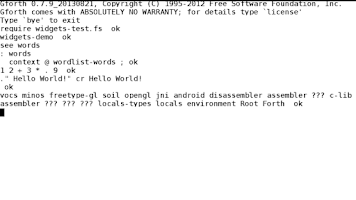Screenshot of gforth - GNU Forth for Android
