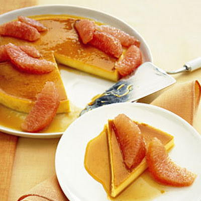 Tangerine-Honey Flan with Grapefruit Segments