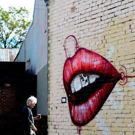 around the corner by Tezar Birawa - City,  Street & Park  Street Scenes ( graffiti, street, street view, people )