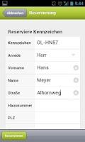 Screenshot of KDO-Wunschkennzeichen