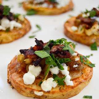 Crispy Potatoes with Caramelized Onion, Goat Cheese & Bacon