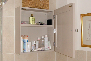 Bespoke Bathroom Cupboards with Shelving - Finished in Specialist Farrow & Ball Paint.