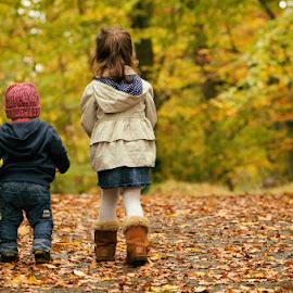 Autumn Mini Sessions by Dominic Lemoine Photography - Babies & Children Child Portraits ( park, autumn, walking away, leaves, siblings )